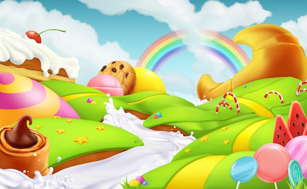 Sweet landscape. 3d vector illustration Premium Vector