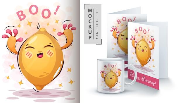 Sweet lemon poster and merchandising Premium Vector