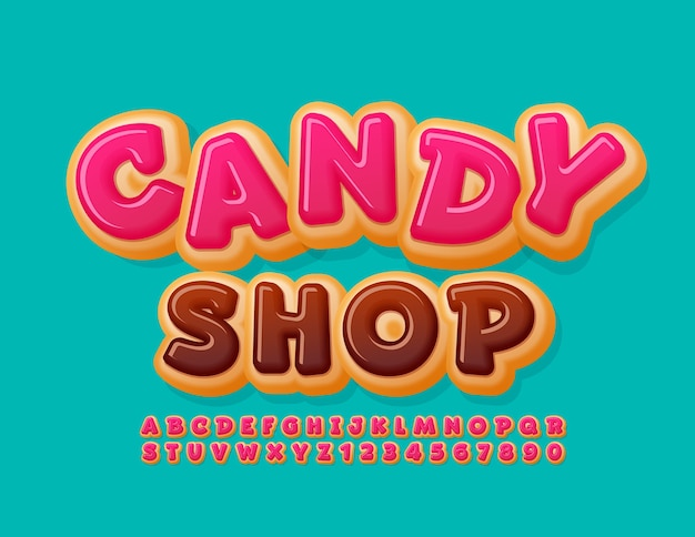 Sweet logo candy shop pink glazed font funny donut alphabet letters and numbers set Premium Vector