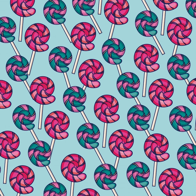 Sweet lollipops icons pattern Free Vector