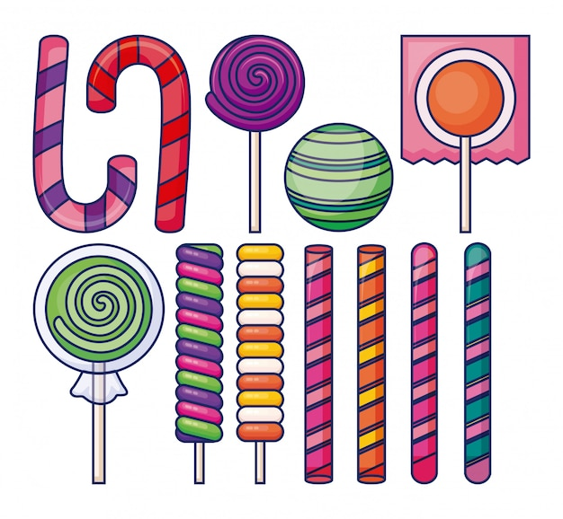 Sweet lollipops with candies icons Free Vector