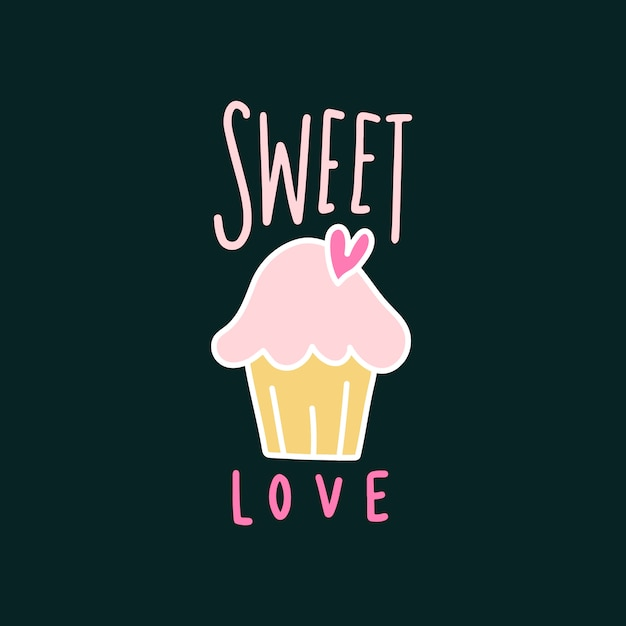 Sweet love cute cupcake vector Free Vector