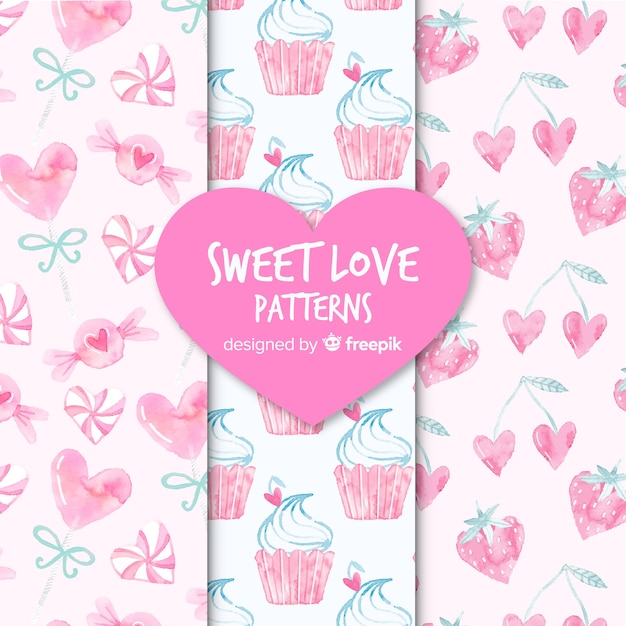 Sweet love patterns Free Vector