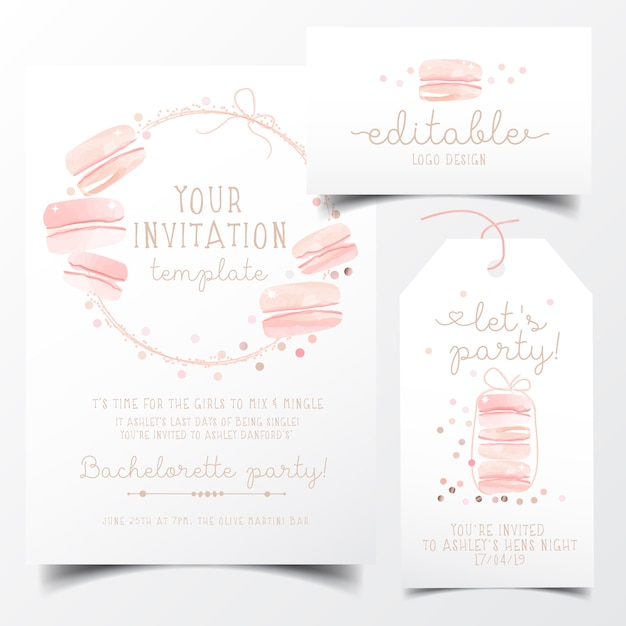 Sweet macaroons party invitation card Premium Vector