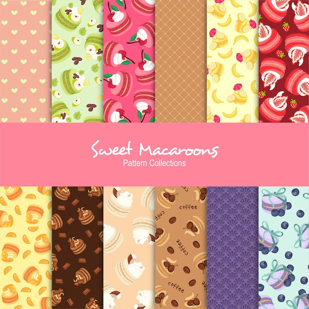 Sweet macaroons pattern collections Premium Vector