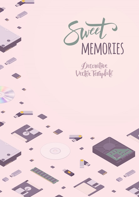 Sweet memories vector decorating design Premium Vector