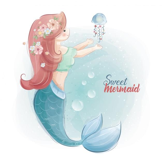 Sweet mermaid Premium Vector