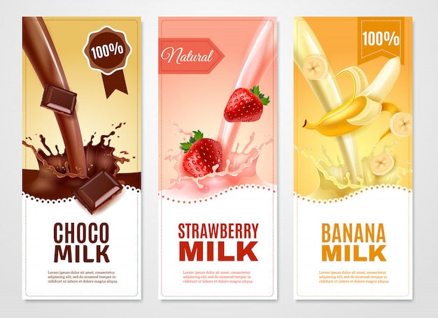 Sweet milk vertical realistic banners set Free Vector