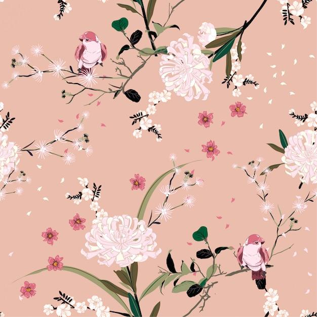 Sweet mood of oriental garden flower Premium Vector