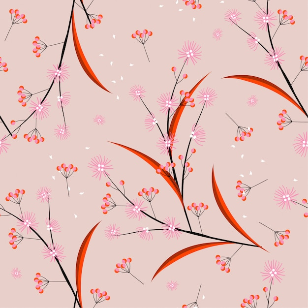Sweet mood and tone minimal line and geometric flowers blowing in the wind seamless pattern in vector design for fashion, fabric, web, wallpaper, and all prints Premium Vector