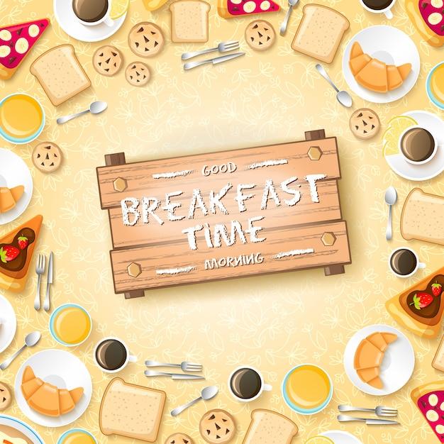 2人のイラストのパンケーキデザートクロワッサン蜂蜜とコーヒーのカップと甘い朝のテンプレート 無料ベクター