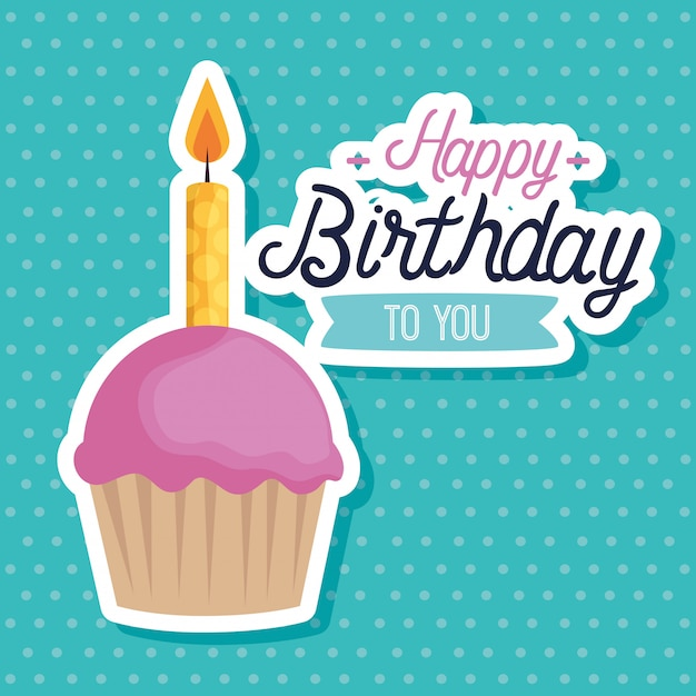 Sweet muffin with candles greeting card Free Vector