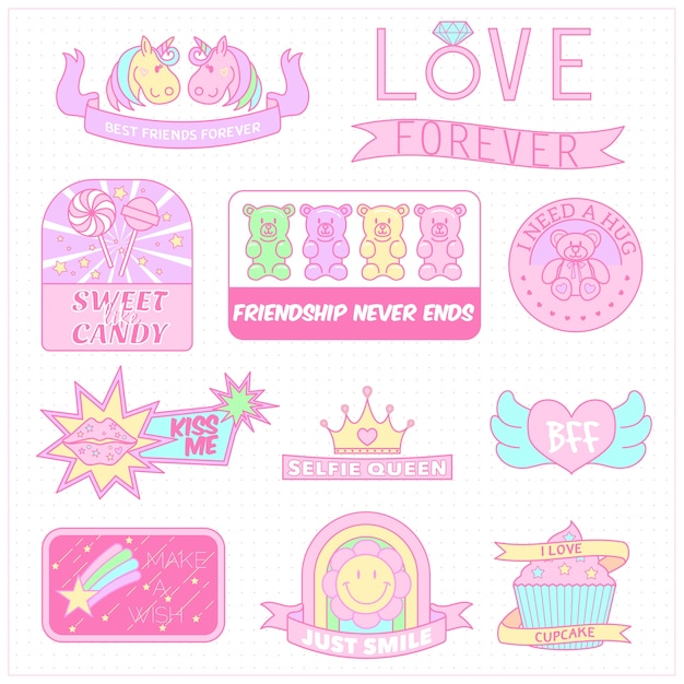 Sweet pastel color girly badge collection Premium Vector