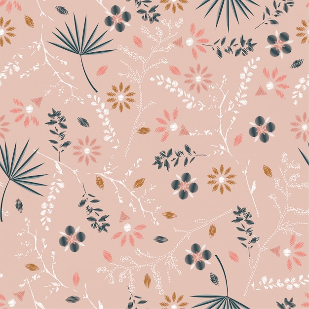 Sweet pastel  embroidery floral seamless pattern Premium Vector