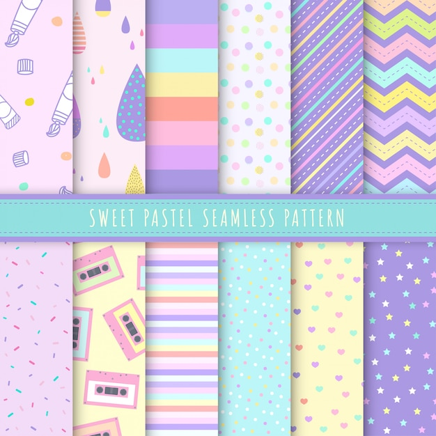 Sweet pastel seamless pattern collection. Premium Vector