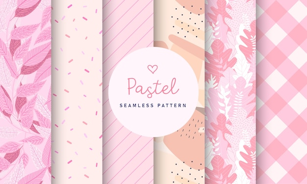 Sweet pastel seamless pattern collection. Free Vector