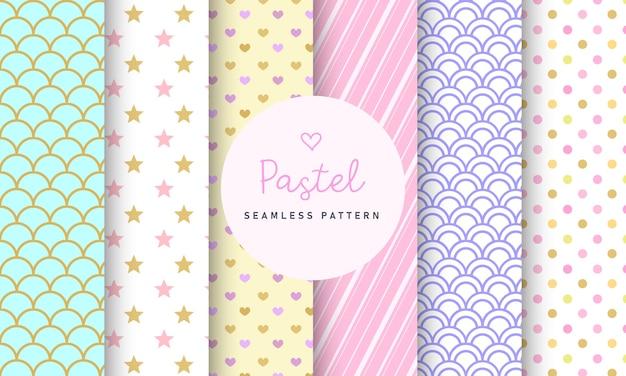 달콤한 파스텔 원활한 패턴 컬렉션입니다. 무료 벡터