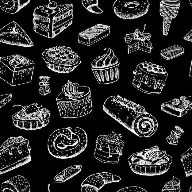 Sweet pastries on chalkboard Free Vector