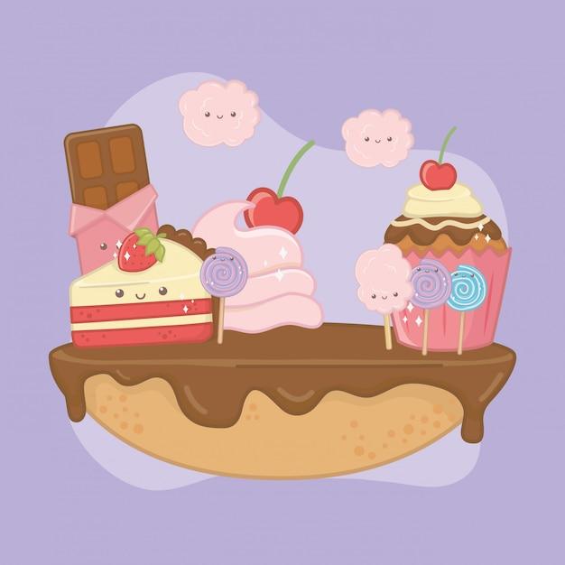 Sweet pie of chocolate cream with kawaii characters Free Vector