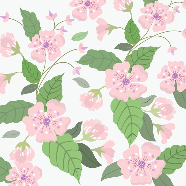 Sweet pink flower and green leaf pattern. Premium Vector