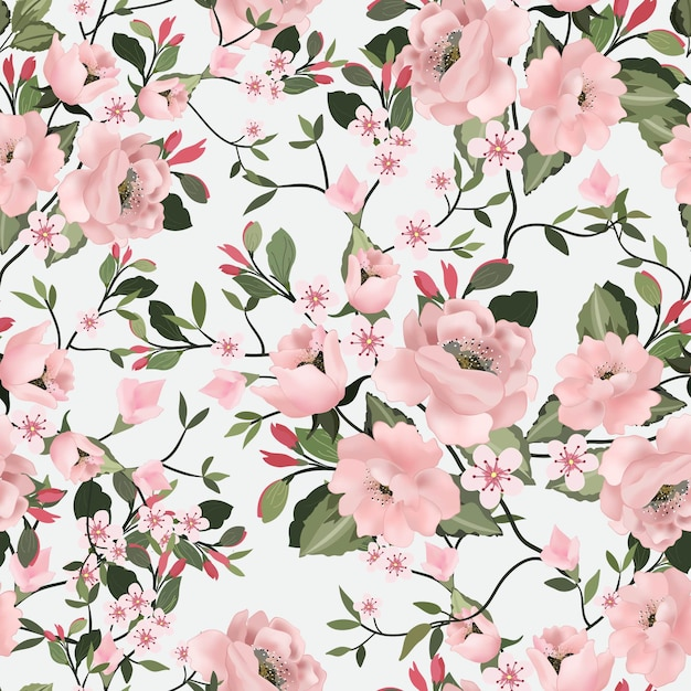 Sweet pink flower and green leaf seamless pattern. Premium Vector