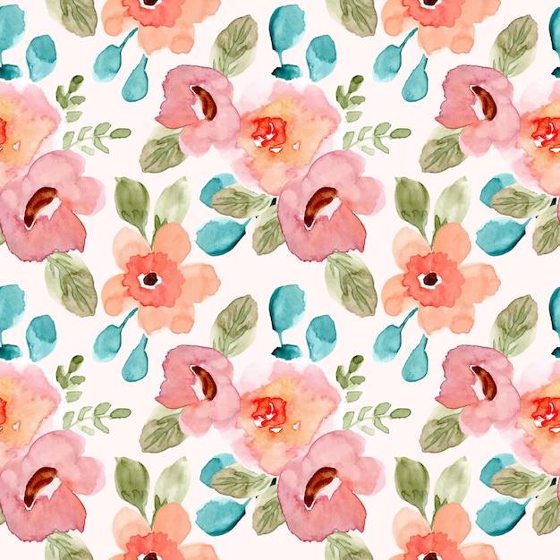 Sweet pink green floral watercolor seamless pattern Premium Vector
