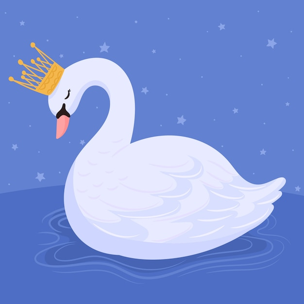 Sweet princess swan crowned Premium Vector
