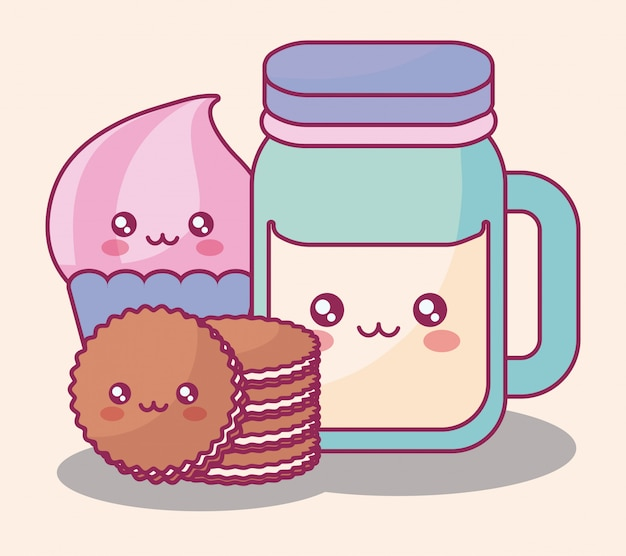Sweet products kawaii characters Premium Vector