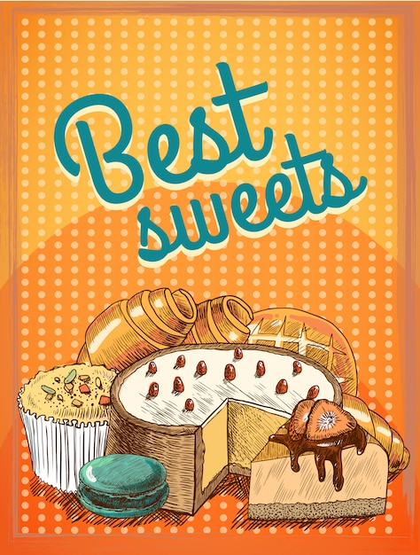 Sweet puff pastry cake pie bread food Free Vector