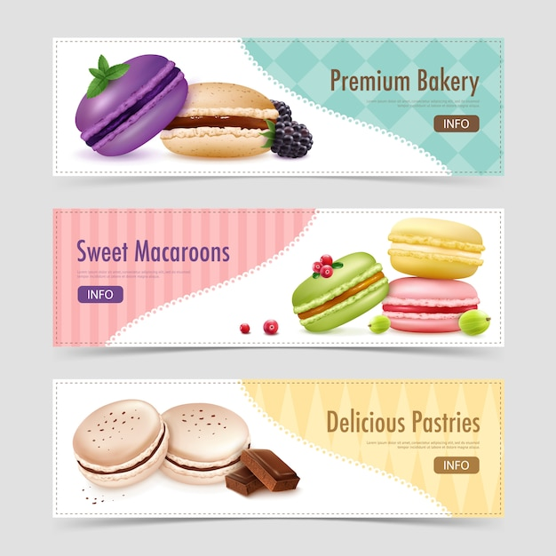 Sweet ratafee pastry banners Free Vector