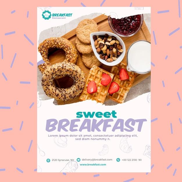 Сладкий ресторан завтрак шаблон постера Бесплатные векторы