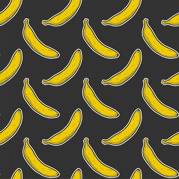 Sweet ripe banana seamless pattern Premium Vector