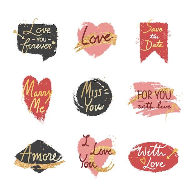 Sweet romantic valentine message set Free Vector
