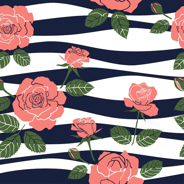 Sweet roses seamless pattern on wavy background Premium Vector