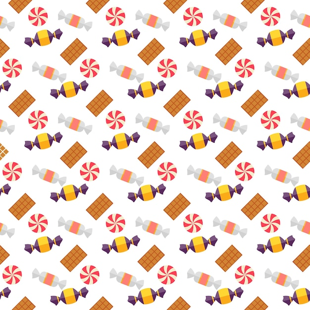 Sweet scandy and cookies seamless pattern with scattered boiled seets and toffees in wrappers Free Vector