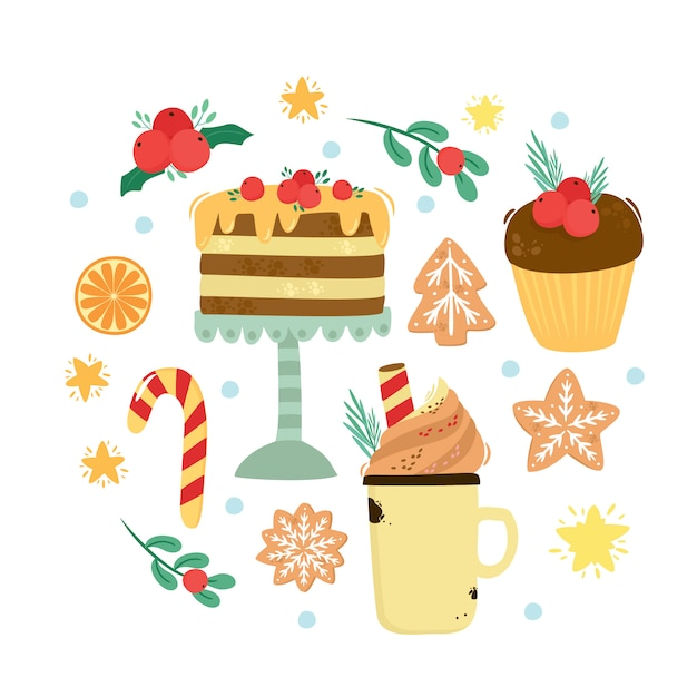 Sweet set. christmas cake, warm cocoa, delicious coffee, gingerbread cookies Free Vector