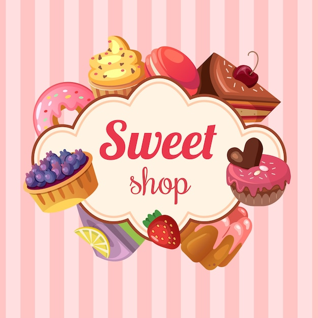 Sweet shop background illustration Free Vector