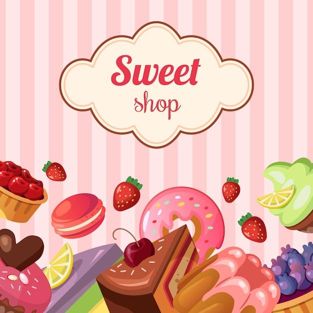 Иллюстрация сладкого магазина фона Бесплатные векторы