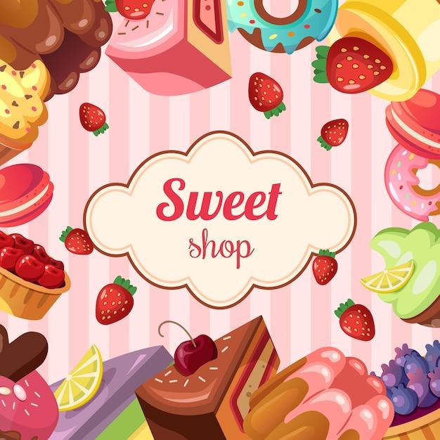 sweet shop background vector premium download