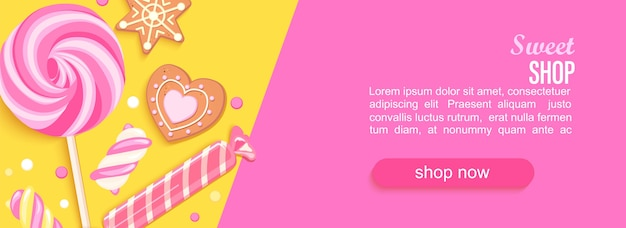 Sweet shop horizontal banner with sweets cookies marmalade Premium Vector