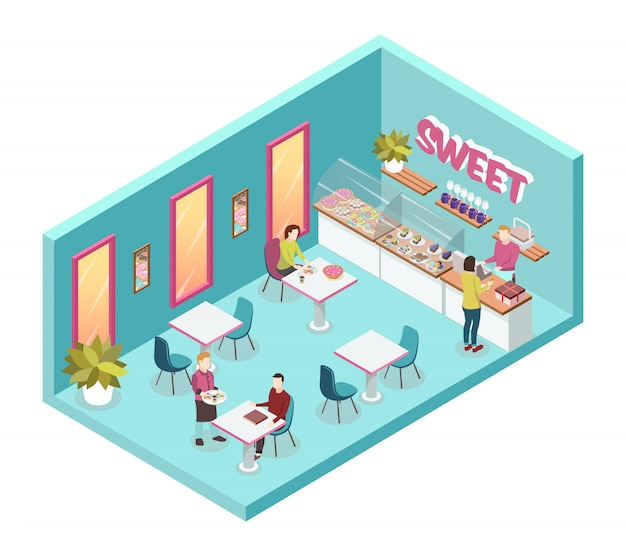 Sweet shop inside with waiters and consumers Free Vector