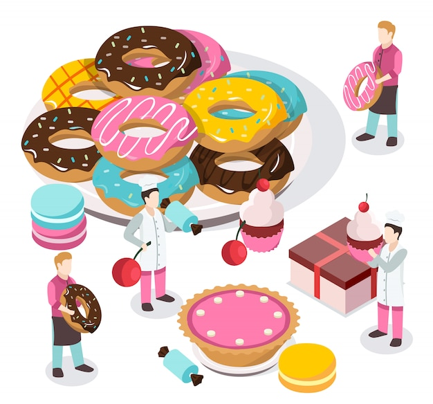 Sweet shop isometric composition Free Vector