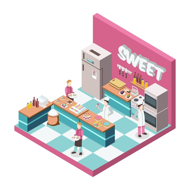 Sweet shop kitchen with bakers and waiters, desserts, food products, utensils, equipment and furniture isometric Free Vector