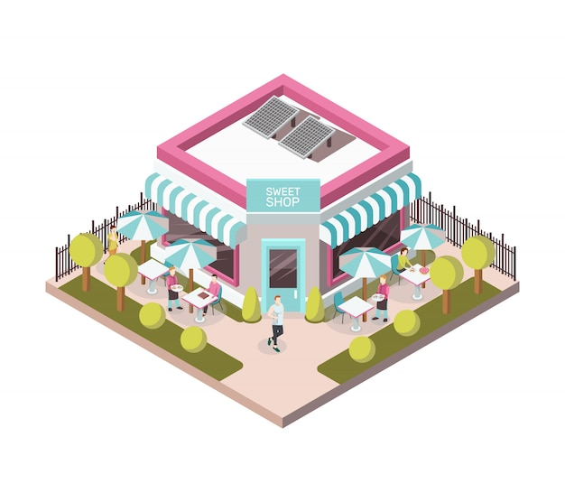 Sweet shop outside view Free Vector