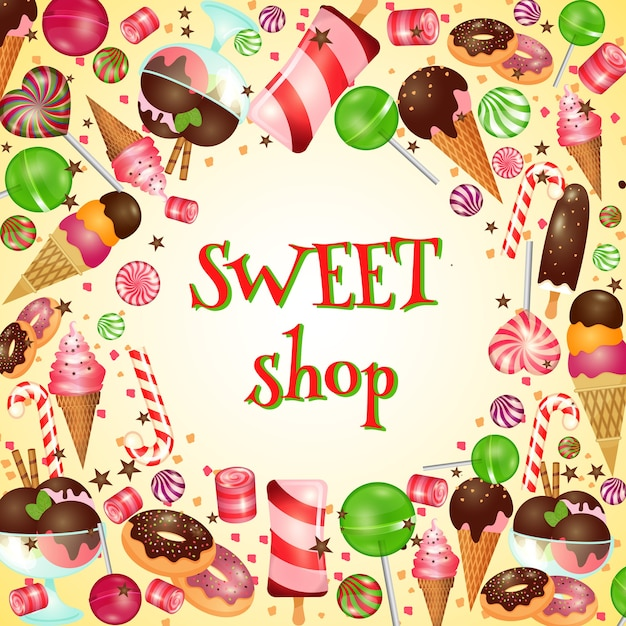Sweet shop poster with candies and lollipops. ice cream, yummy food, Free Vector