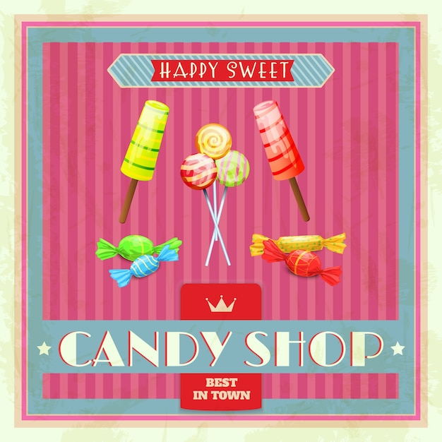 Sweet shop poster Free Vector