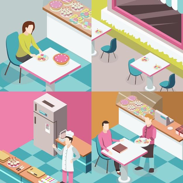 Sweet shop изометрические концепция дизайна Бесплатные векторы