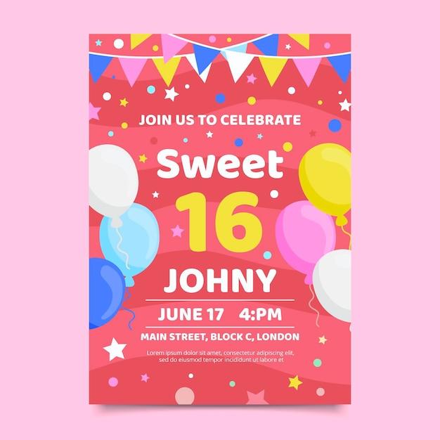 甘い16歳の誕生日の招待状のテンプレート Premiumベクター