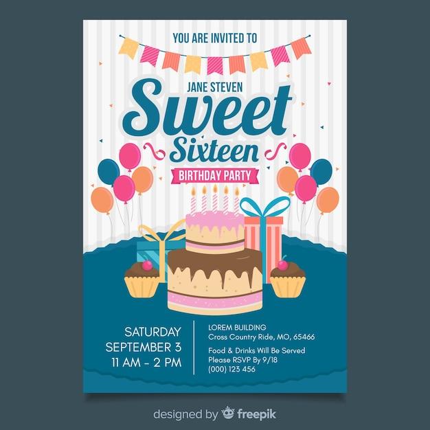 Sweet Sixteen Birthday Invitation Template Free Vector