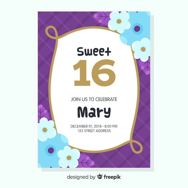 Sweet Sixteen Birthday Invitation Free Vector